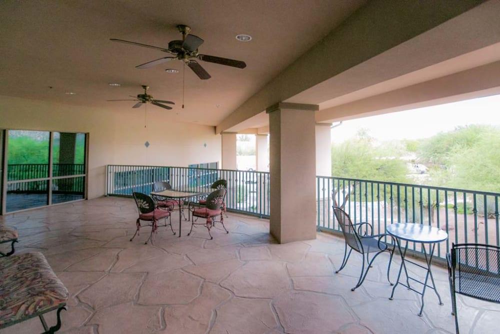 Balcony patio at Mountain View Retirement Village in Tucson, Arizona