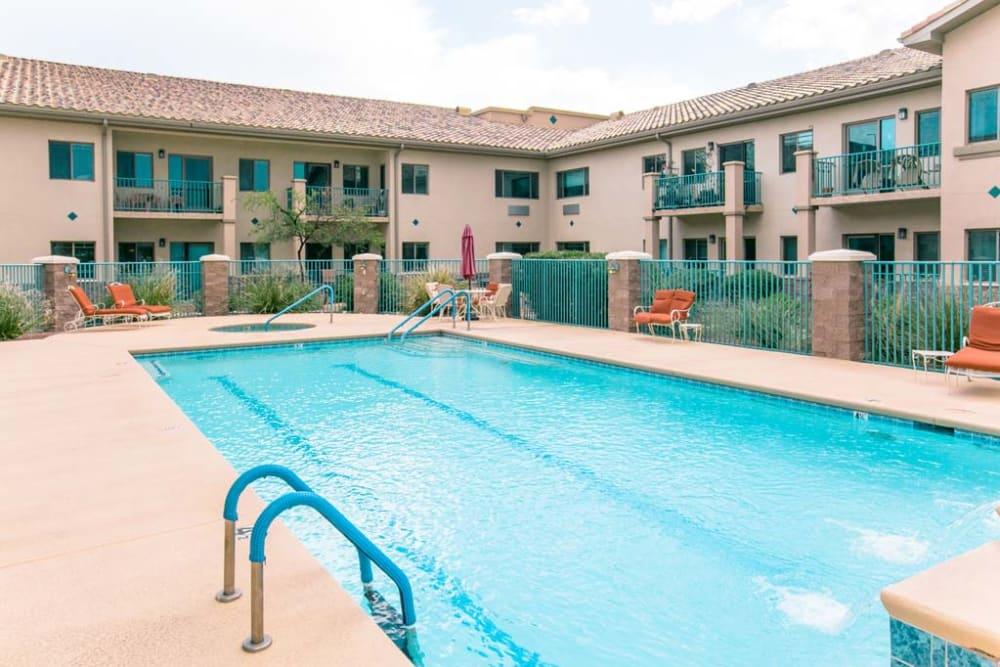 Outdoor swimming pool at Mountain View Retirement Village in Tucson, Arizona