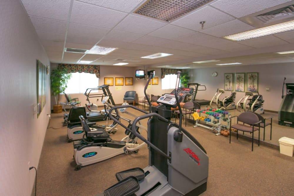 Fitness center at Mountain View Retirement Village in Tucson, Arizona