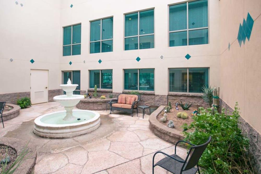 Fountain at Mountain View Retirement Village in Tucson, Arizona