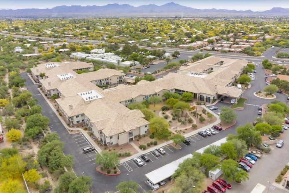 Aerial view of Mountain View Retirement Village in Tucson, Arizona