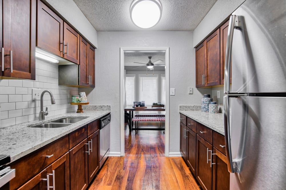 Kitchen at The Lodge on the Chattahoochee Apartments in Sandy Springs, Georgia