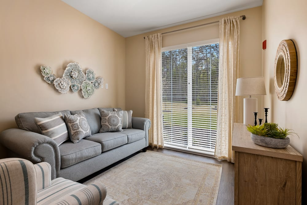 A resident living room at The Claiborne at Brickyard Crossing in Summerville, South Carolina
