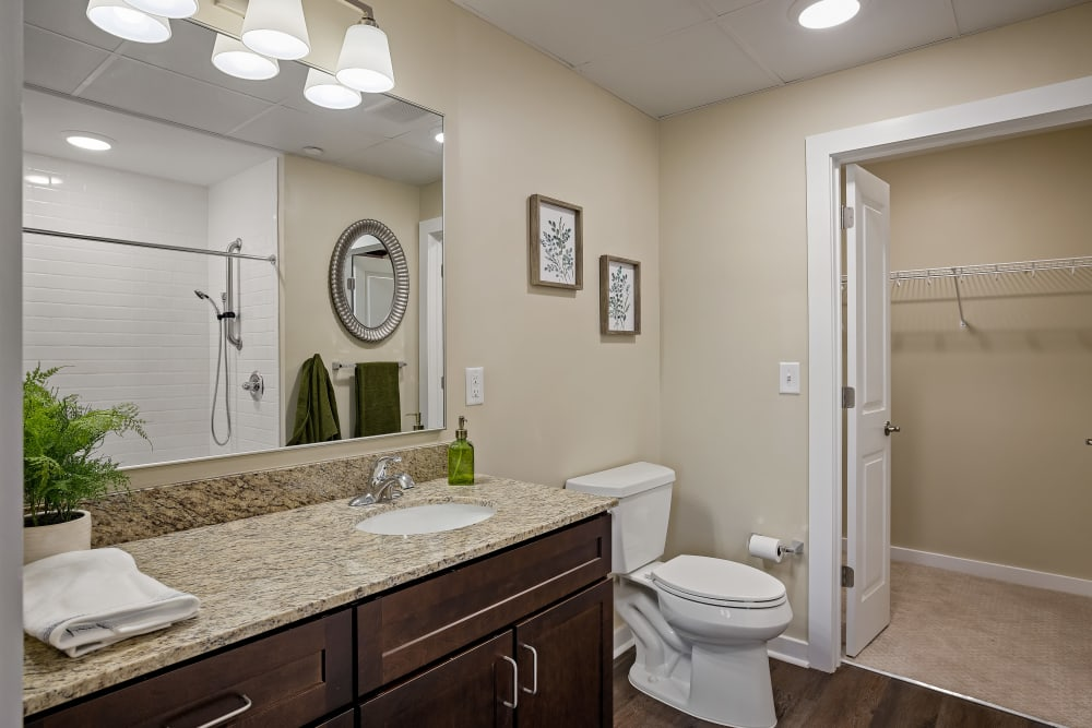 A spacious resident bathroom at The Claiborne at Brickyard Crossing in Summerville, South Carolina