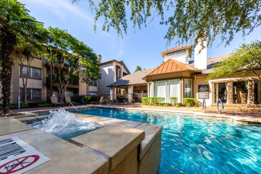 Sparkling swimming pool at Marquis at Ladera Vista in Austin, Texas
