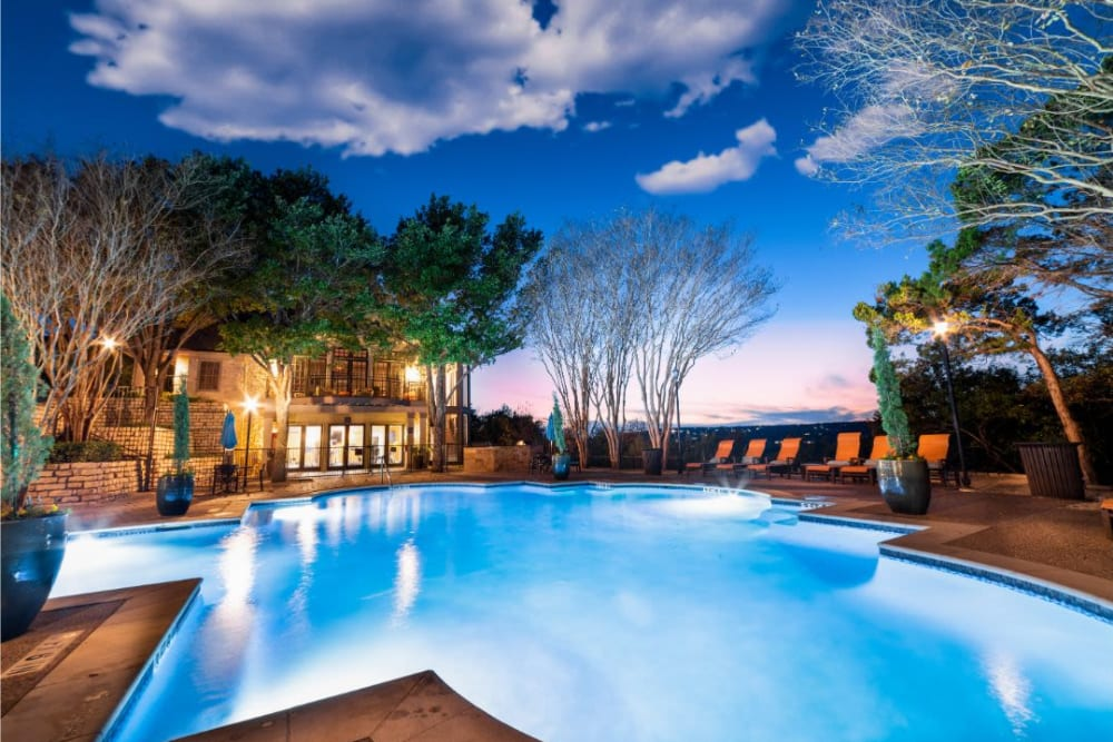 Resort-style, sparkling swimming pool at Marquis at Treetops in Austin, Texas