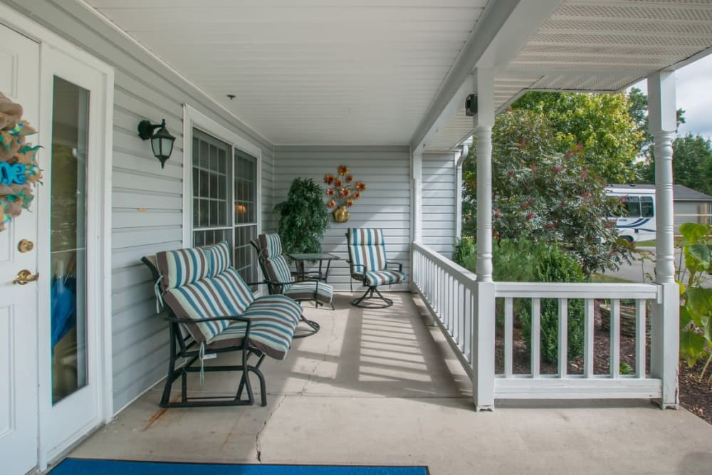 Inviting front deck at Carriage Court of Marysville in Marysville, Ohio.