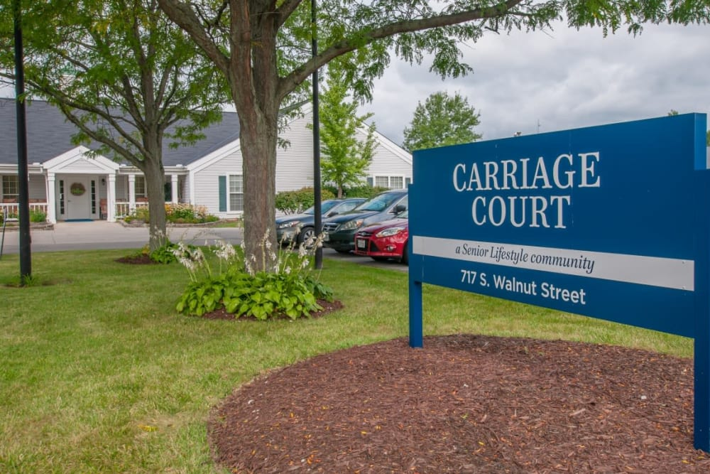 Sign outside entrance at Carriage Court of Marysville in Marysville, Ohio.