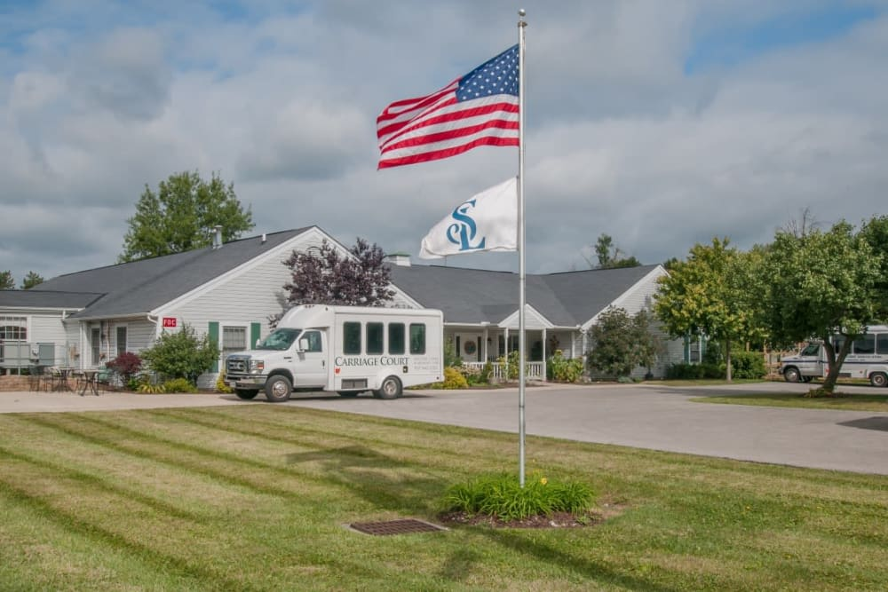 Facility with American flag outside at Carriage Court of Marysville in Marysville, Ohio.