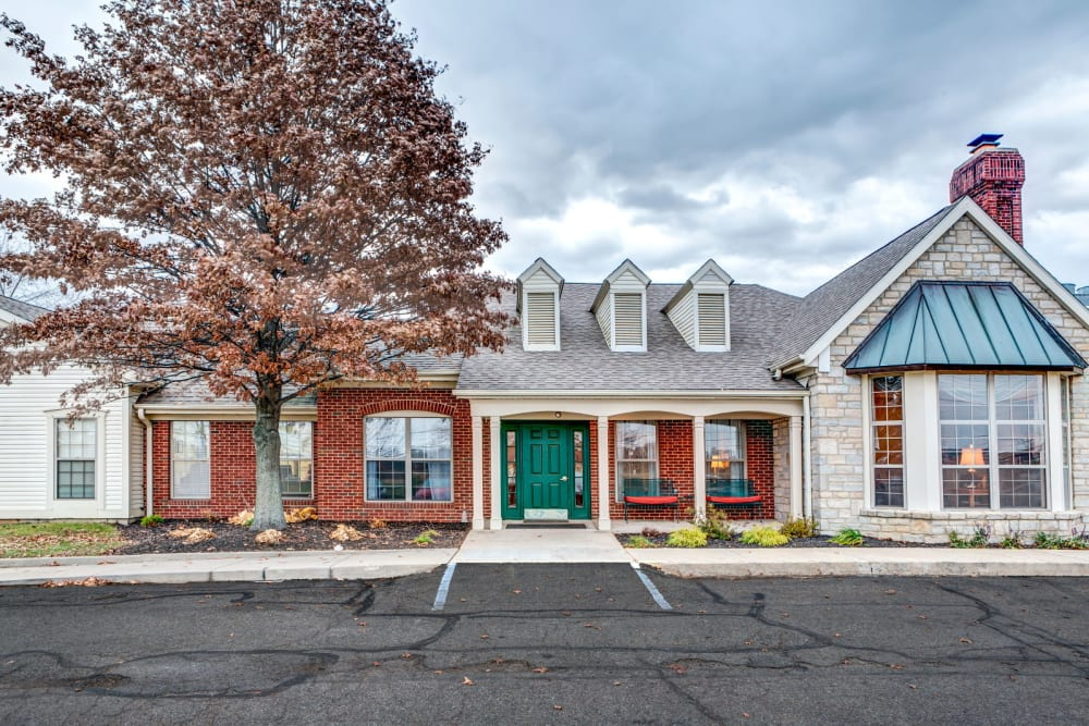 Cheerful exterior to upscale senior living facility at Carriage Court of Lancaster in Lancaster, Ohio