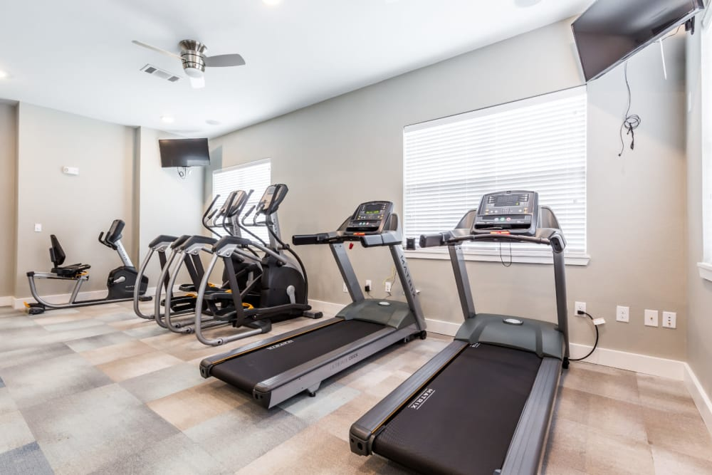 Fitness center for residents at Marquis at Cinco Ranch in Katy, Texas