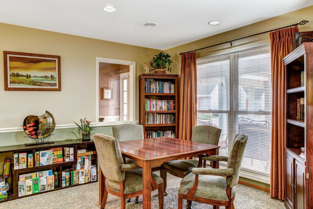 Activity and game room at Carriage Court of Grove City in Grove City, Ohio