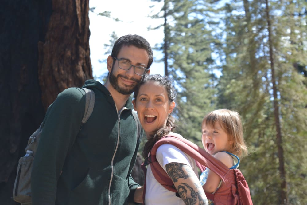 Elisa Graber hiking with her family