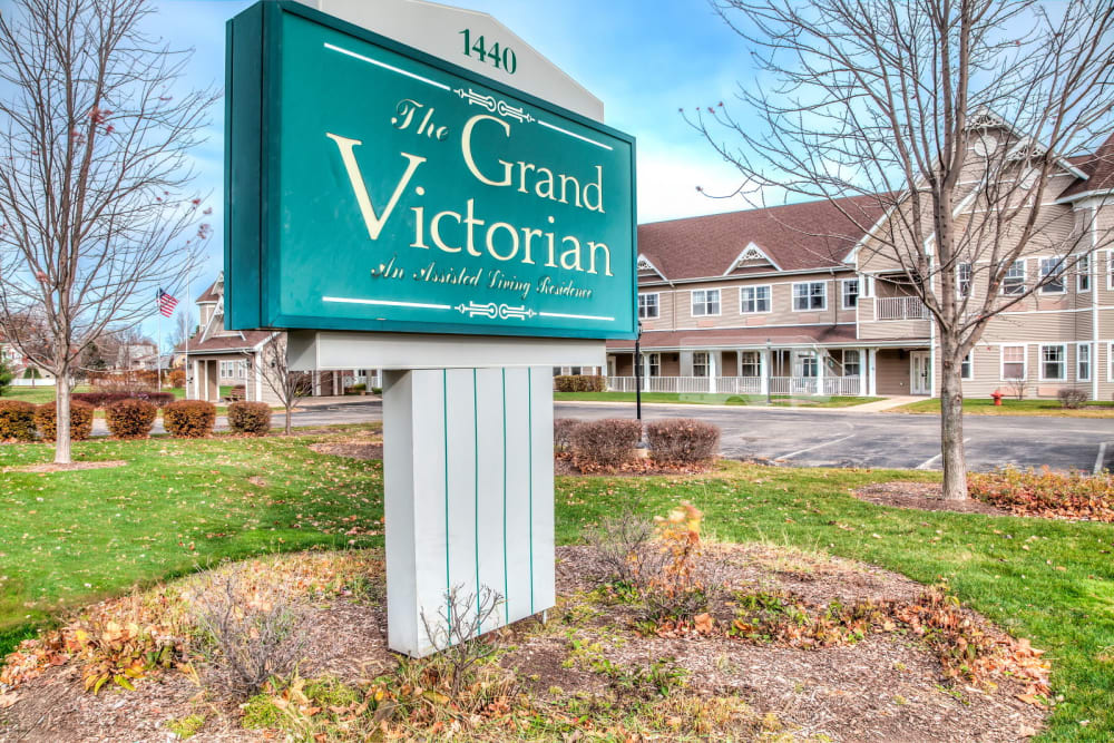 Emerald sign outside upscale senior living facility at Grand Victorian of Sycamore in Sycamore, Illinois