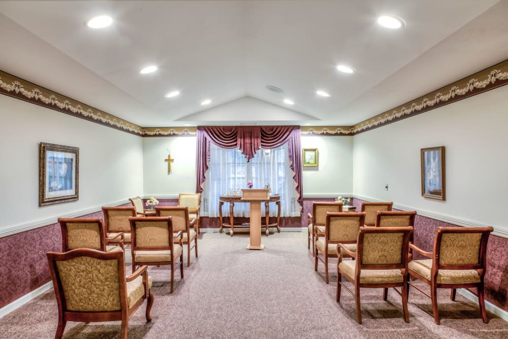 Lecture hall with tract lighting at Grand Victorian of Sycamore in Sycamore, Illinois