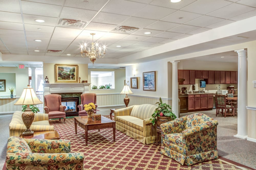 Brightly lit elegant lounge seating at Grand Victorian of Rockford in Rockford, Illinois