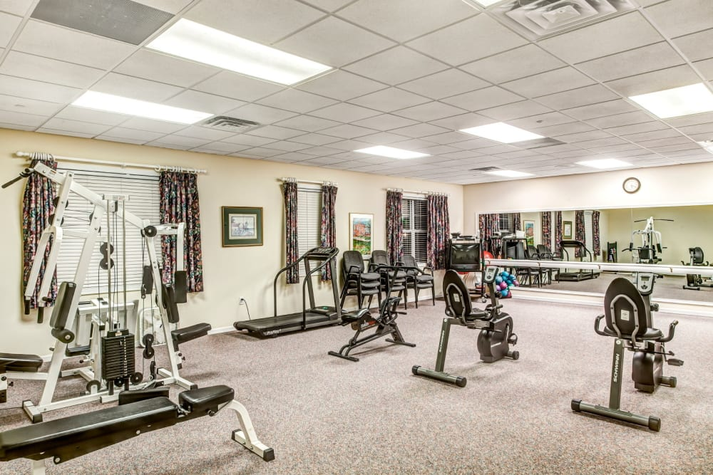Deluxe fitness room at Grand Victorian of Rockford in Rockford, Illinois