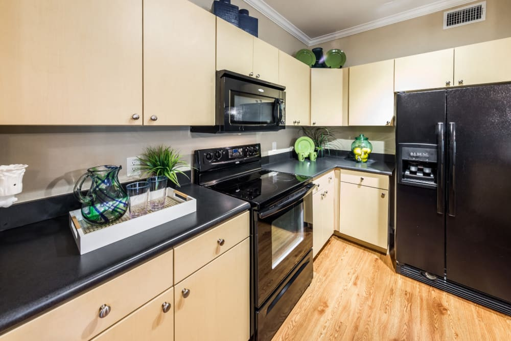 Kitchen with granite counters at Marquis at Canyon Ridge in Austin, Texas
