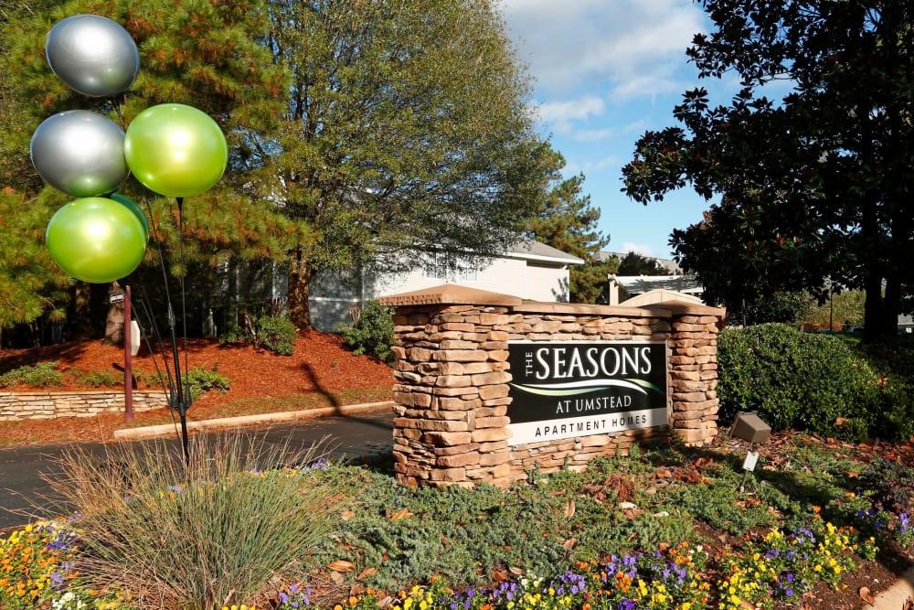 Entrance Sign at The Seasons at Umstead in Raleigh, North Carolina