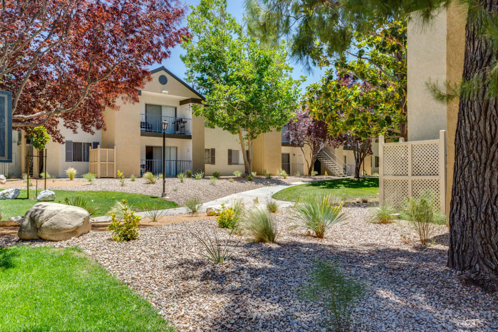 Professionally maintained landscaping throughout our garden-style community at Mountain Vista in Victorville, California