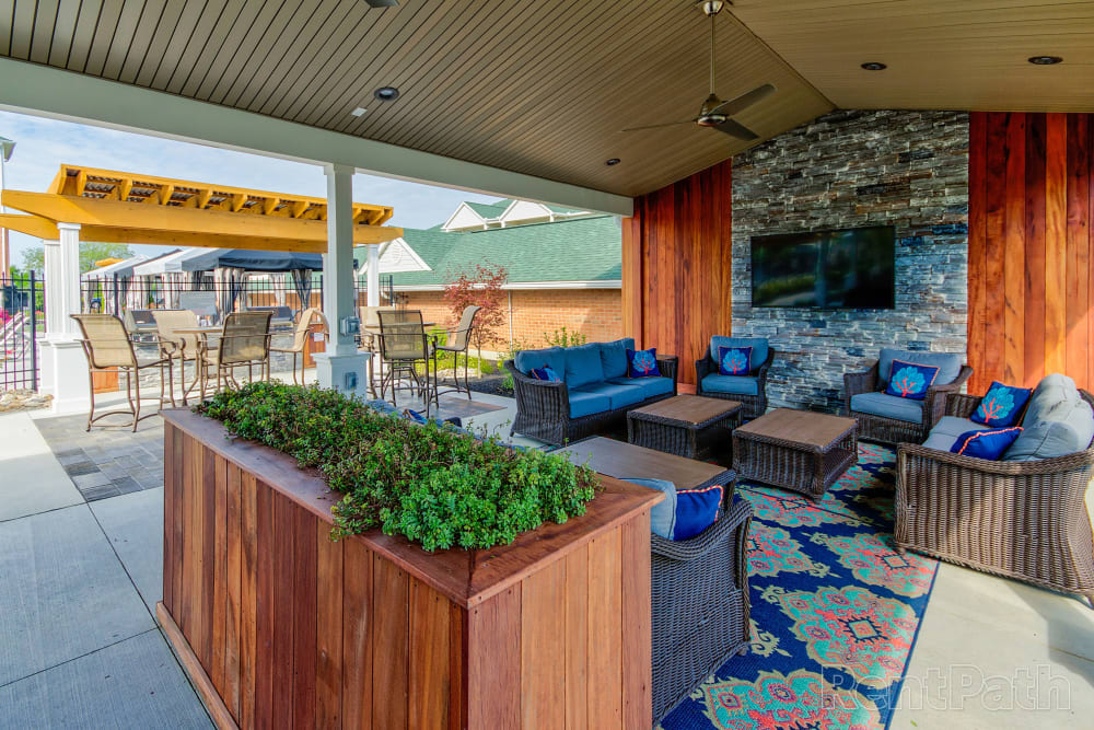 Outdoor cabana area to relax in at Aspen Pines Apartment Homes in Wilder, Kentucky