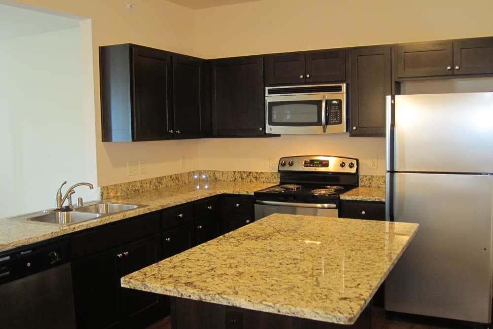 Tons of counter space in the kitchen at Aspen Pines Apartment Homes in Wilder, Kentucky