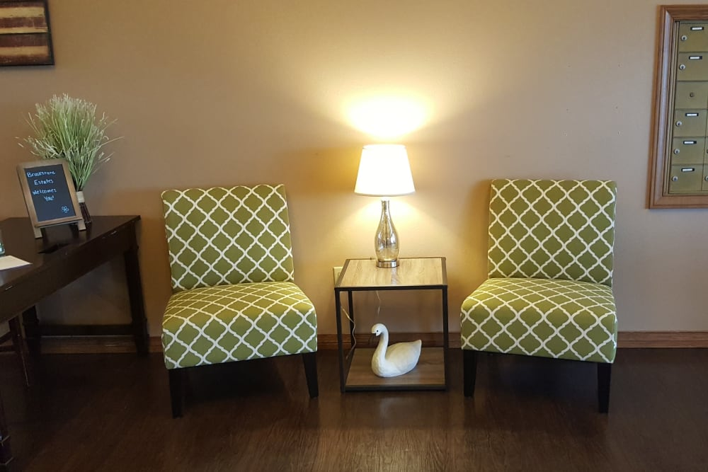 Colorfully seating area at Brookstone Estates of Charleston in Charleston, Illinois.