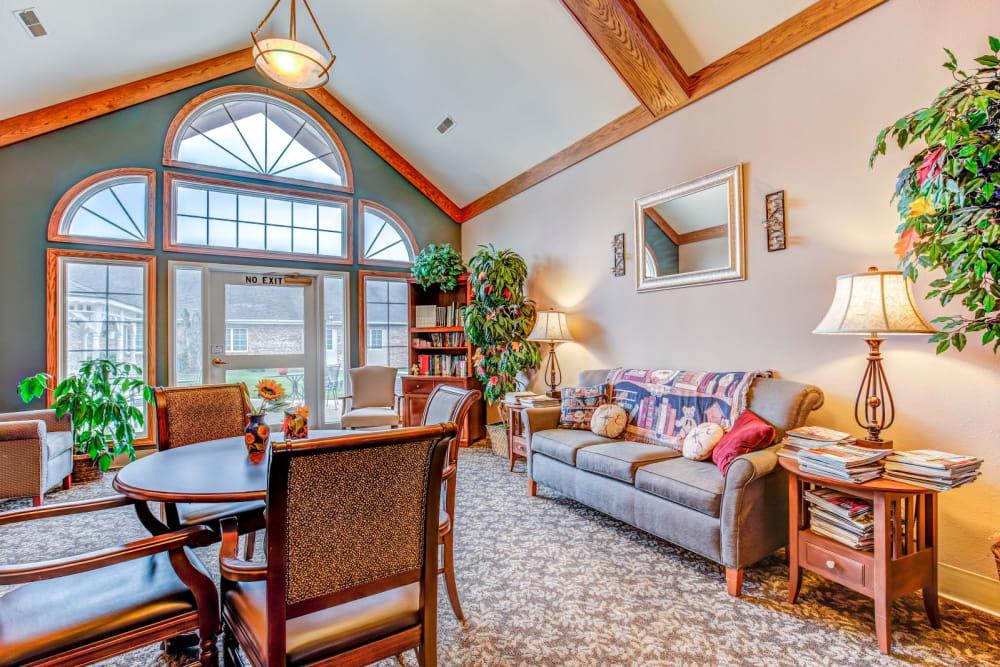 Well-lit lounge area at Brookstone Estates of Charleston in Charleston, Illinois.