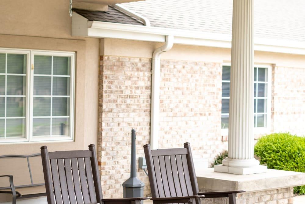 Rocking chairs on porch at Brookstone Estates of Vandalia in Vandalia, Illinois
