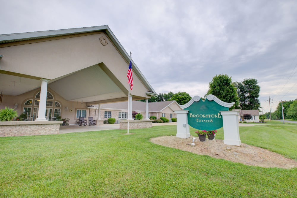 Entrance to upscale senior living facility at Brookstone Estates of Vandalia in Vandalia, Illinois