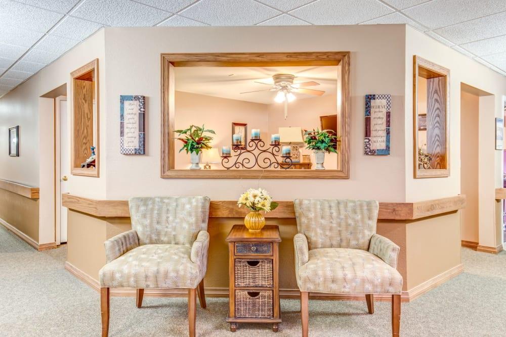 Well lit lounge area at Brookstone Estates of Tuscola in Tuscola, Illinois