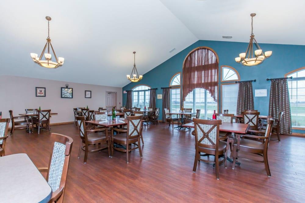 Elegant communal dining area at Brookstone Estates of Tuscola in Tuscola, Illinois