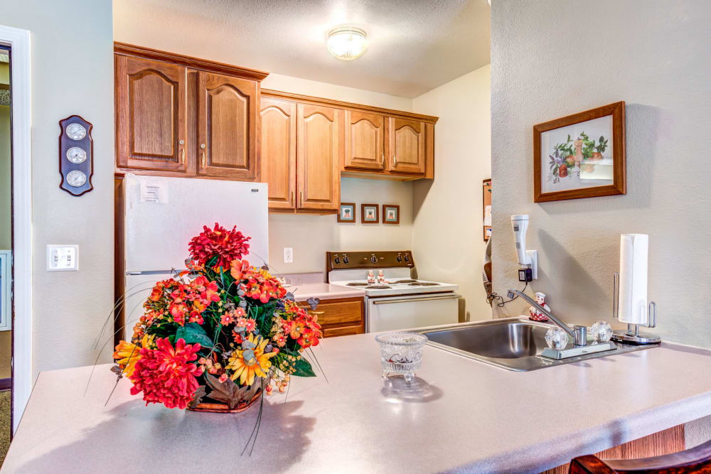 Kitchen in senior living apartment at Brookstone Estates of Effingham in Effingham, Illinois.