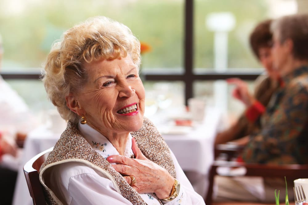 Cheerful resident at Brookstone Estates of Robinson in Robinson, Illinois