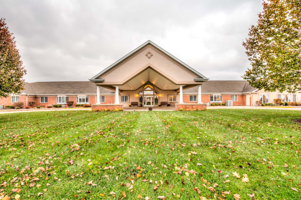 Impressive entrance at Brookstone Estates of Rantoul in Rantoul, Illinois