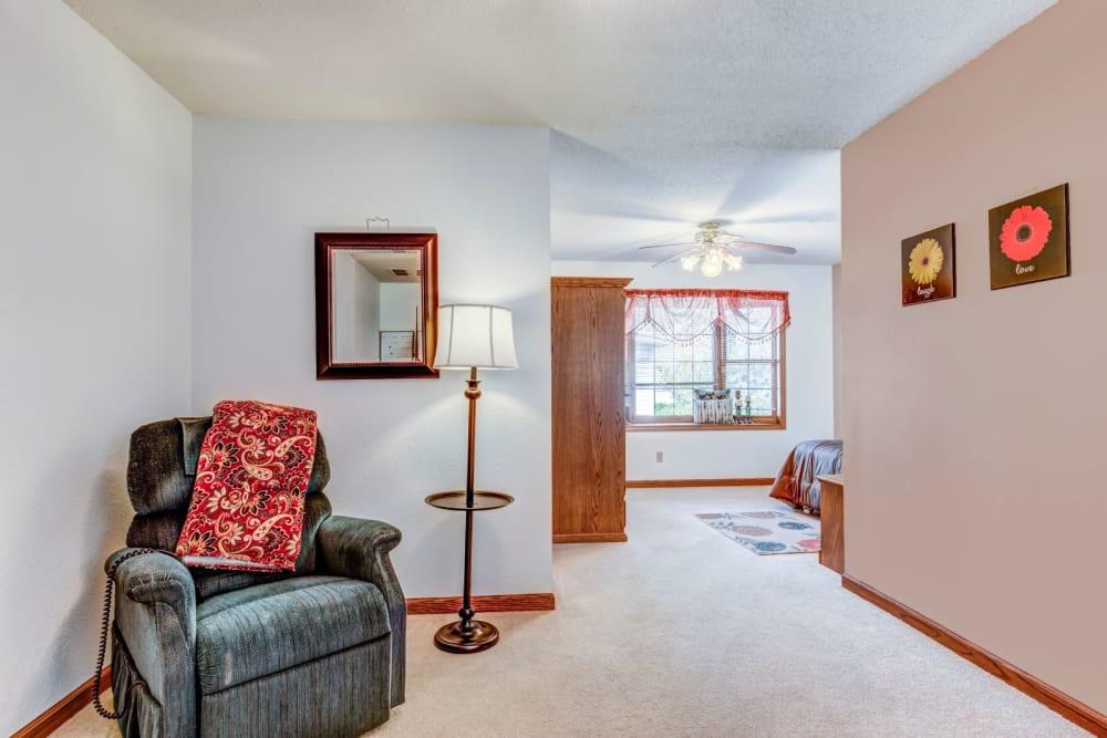 Senior living apartment at Brookstone Suites of Effingham in Effingham, Illinois.