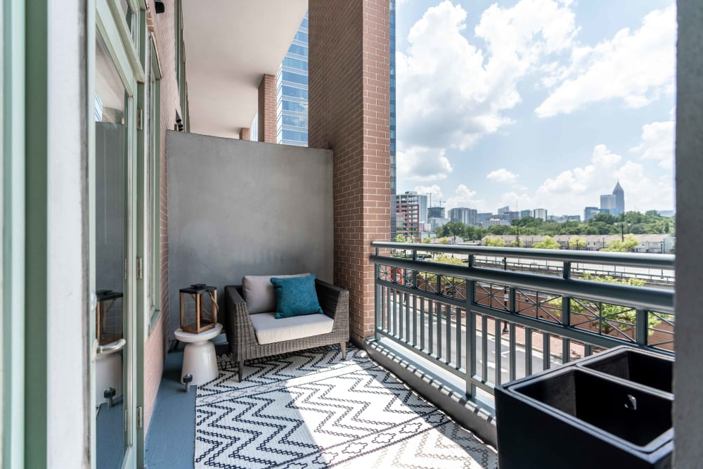 Incredible view from the spacious balcony at 17th Street Lofts in Atlanta, Georgia