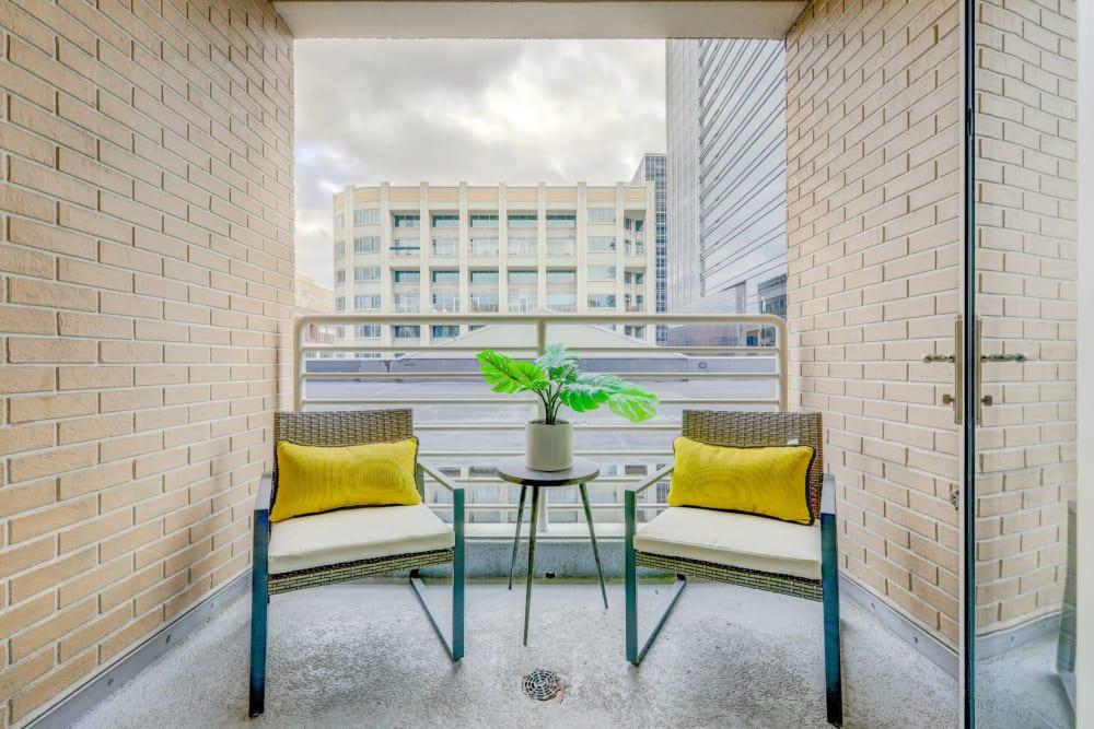 Cute and cozy private balcony at 17th Street Lofts in Atlanta, Georgia
