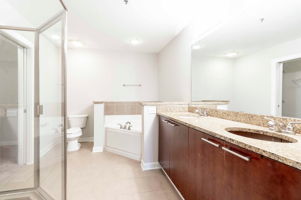 Huge bathroom with large shower and tub at 17th Street Lofts in Atlanta, Georgia