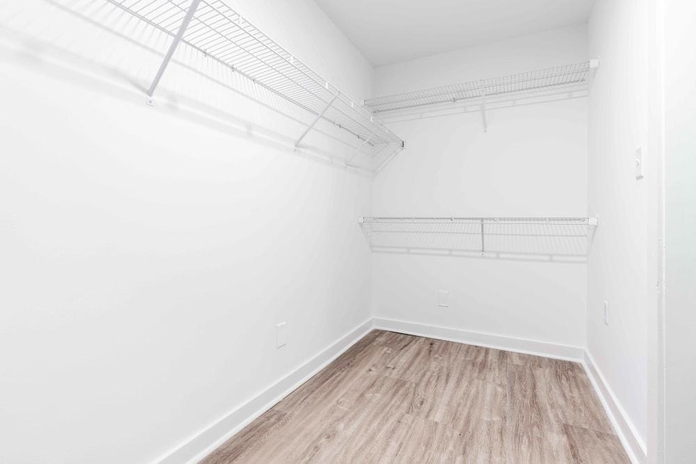 Spacious airy walk-in closet at 17th Street Lofts in Atlanta, Georgia
