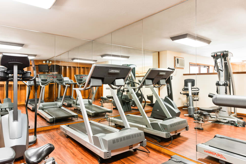 Fitness center with treadmills at Village Pointe in Northridge, California