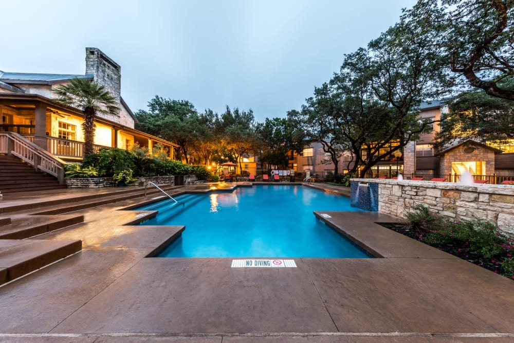 Swimming pool outside of the clubhouse at Marquis at Deerfield in San Antonio, Texas