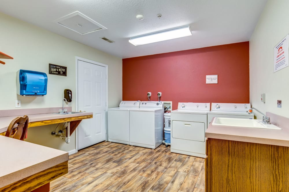 washer and dryer room at Brookstone Estates of Fairfield in Fairfield, Illinois