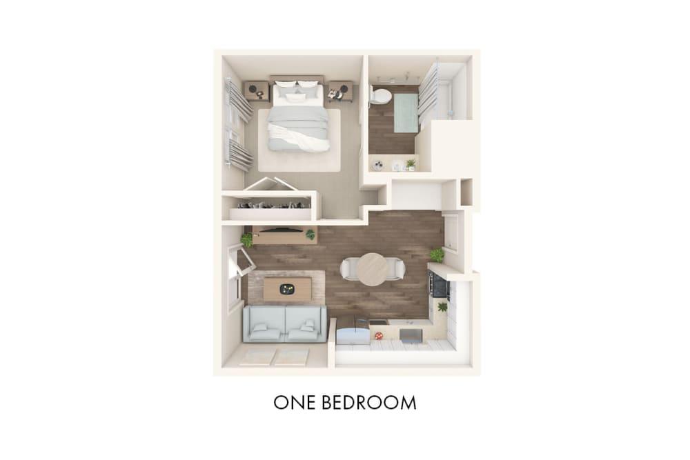 3D Bedroom Floor Plan Layout at The Landings at Gentry Park