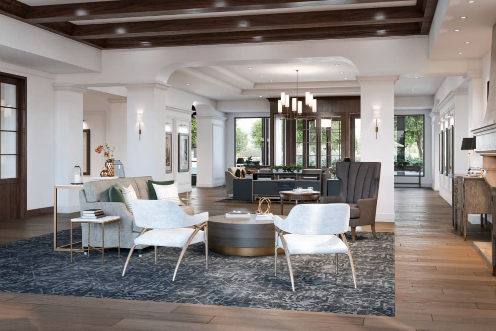 Gathering area with lots of soft seats and couches for residents at Amira Minnetonka in Minnetonka, Minnesota