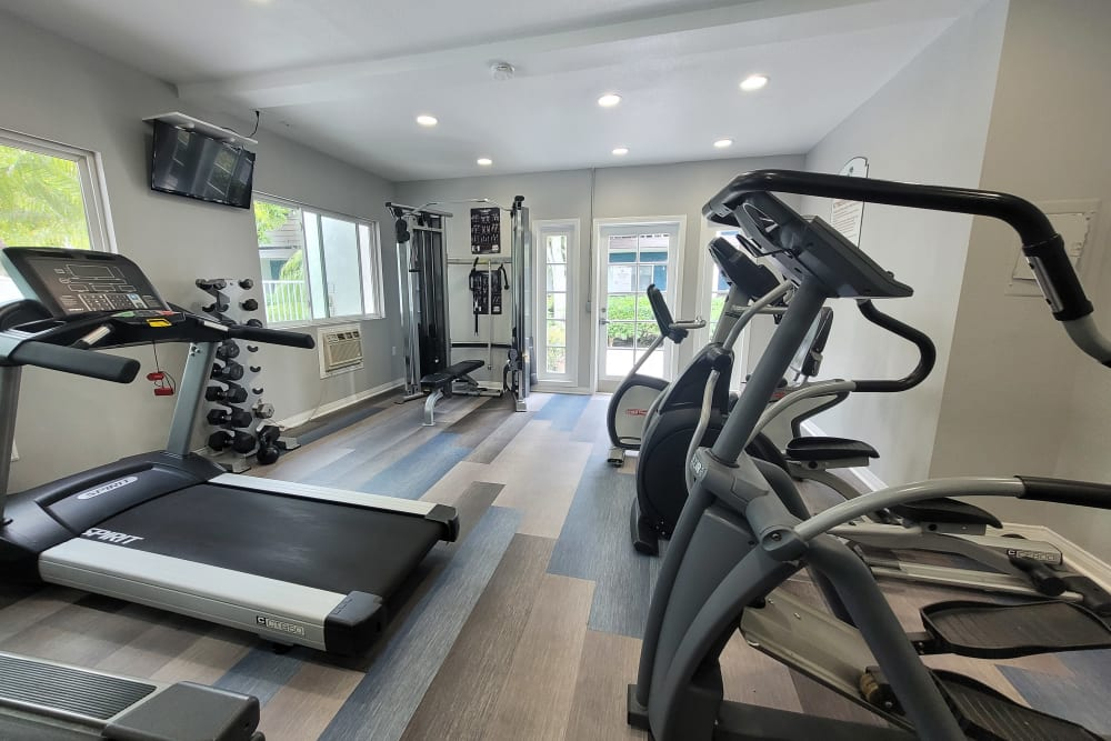 Clean, modern community gym at Kendallwood Apartments in Whittier, California