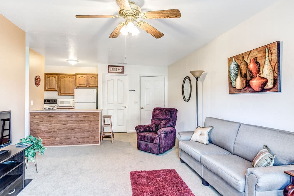 Brightly lit living room in senior apartment at Brookstone Estates of Mattoon South in Mattoon, Illinois