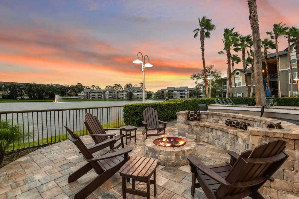 View of pond at and firepit at Ocean Park of Ponte Vedra in Jacksonville Beach, Florida