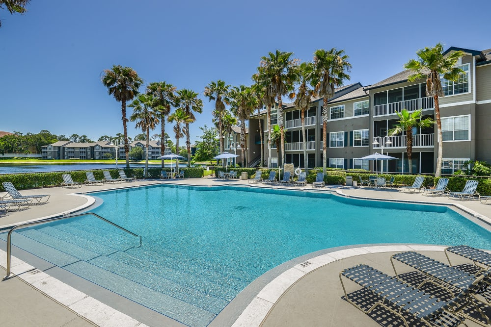 View of swimming pool at Ocean Park of Ponte Vedra in Jacksonville Beach, Florida
