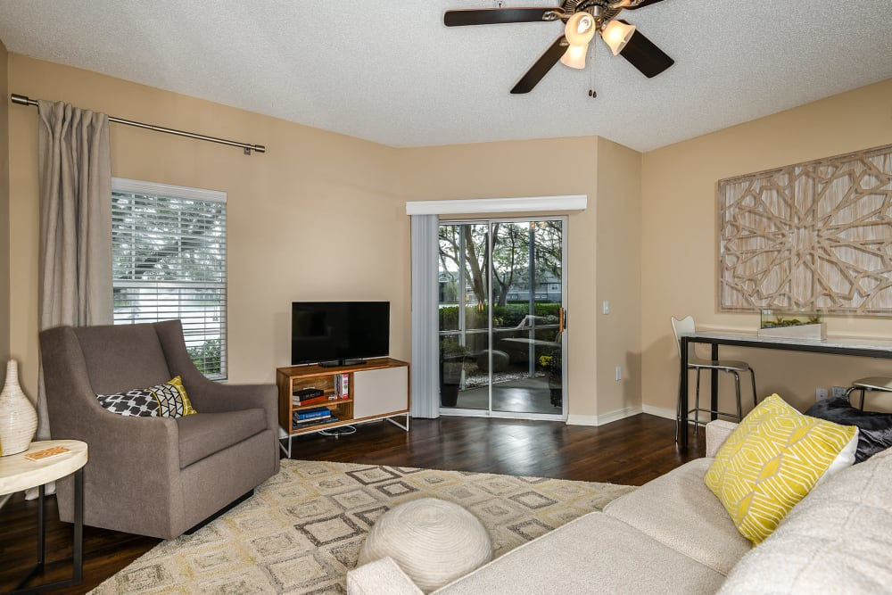 A second living room view at Ocean Park of Ponte Vedra in Jacksonville Beach, FL